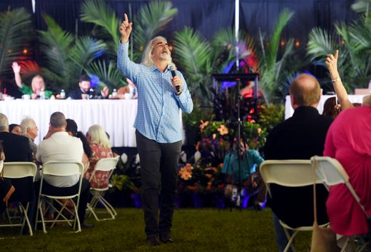 Guy Penrod, former leader singer of the Gaither Vocal Band and Christian touring artist, leads the inspirational music on Thursday, April 11, 2019 during the 15th annual Vero Beach Prayer Breakfast at Riverside Park in Vero Beach. The keynote speaker for the event was Jonathan Cahn, a Messianic rabbi and biblical scholar known for his best selling book